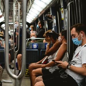 Masked Transit Riders